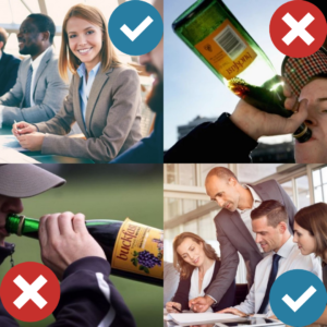 Images of people drinking buckfast and business people
